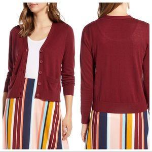 NWT Halogen V-Neck Cardigan Sweater Red Grape